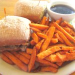 French Dip and Sweet Potato Fries, Oak Tree Northwest Bar and Grill, Ashland, Oregon