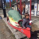 Cash checking out the giant fish in front of Sandbar Cafe , 6087 Island Hwy W, Qualicum Beach, B