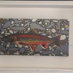 Salmon painting for sale at Sandbar Cafe , 6087 Island Hwy W, Qualicum Beach, British Columbia