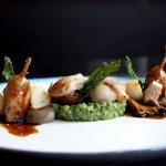 quail mushroom / barley risotto / nettle from thiessen farm, fraser valley, bc