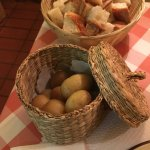 Chunks of bread and potatoes to dip into fondue