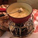 Bubbling pot of fondue