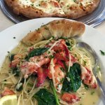 Lobster pizza and lobster scampi