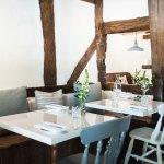 The restaurant interior showcases beautiful original features