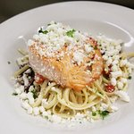 Our Mediterranean Style Dinner! Can be made with Scallops, Salmon, Tuna, or our catch of the day