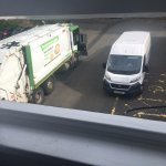 Garbage truck and deliveries coming and going right outside our room window!