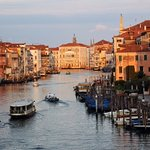Early morning in Venice bathed in golden light
