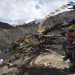 Prayer flags above Lamayuru