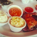 1/4 rib and chicken with mac, beans, and potato salad