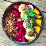 Smoothie bowl at Genius Cafe after our yoga class on the beach