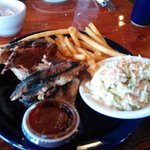 Ribs, fries, and slaw