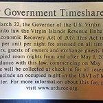 USVI Timeshare Fee sign