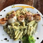 Penne Pasta with Pesto Sauce and Scallops