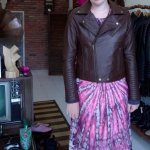 Beautiful brown leather jacket with sleeve detail