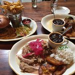 From left to right: Mango BBQ Pork Sandwich, Lechon Asado, and Ropa Vieja