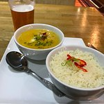Thai seafood and coconut rice, local Orkney beer