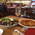 Chicken wontons and dry ribs followed by pizza and field greens salad