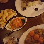 huge servings! Lamb stew & Parmesan crusted chicken