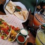 Pork Tacos, pork quesadillas, cucumber infused margarita, strawberry margarita