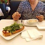 Chicken flatbread and garlic salmon gnocchi