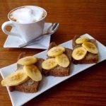 Coffee and banana bread combo