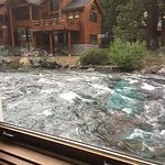 The Truckee River is raging next to the restaurant.