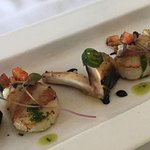 Western Australian Scallops served with wood- fire baked Field mushrooms