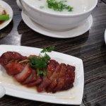 Free range chicken congee and Roasted honey glazed pork