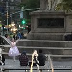 Performers as seen from The RIDE bus as it drive near Columbus Circle & midtown