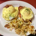 Texas Benedict with Texas hash (browns).