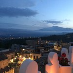 View over Taormina From Roof Top Terrace to Mt Etna at Night