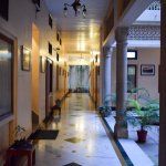 Wide corridors with heritage design elements, pleasing and welcoming