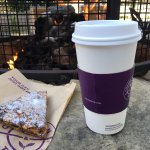 Fruit & Nut Scone + Java by the outdoor fire