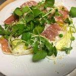 Fennel, Parma ham, peas + ricotta salata