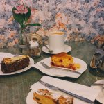 Cakes left to right; carrot cake, almond and raspberry blondie, lemon and raspberry drizzle