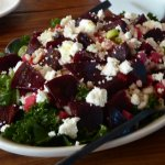 """The salad was bountiful and delicious made with greens, Feta cheese, beets & more"""""""