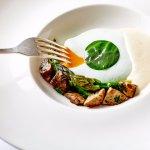 Pheasant egg, English asparagus, St. George mushroom (Vegetarian Dish)