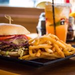 Our signature Tram Burger and Margarita.