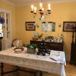 Dining room set for lunch for the baby shower