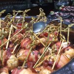 petite bacon wrapped sage chicken skewers