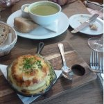 Gruyere Souffle and Asparagus Soup