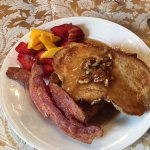 Delicious french toast with maple pecan syrup