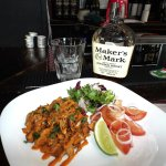 Our apple wood smoked vegan pulled pork goes great with bourbon.