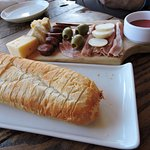 appetizer- cheese and charcuterie with crusty bread