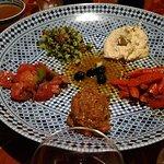 tabbouleh, eggplant, hummus, pickled vegetables. ALL good.