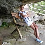 Relaxing at the bushman's cave. Bushman paintings on the rocks.