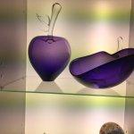 Wertheimer Glaskunst blown glass apple and dish