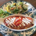 Margarita Mary's famous enchilada with Caesar salad in our own house made dressing & cornbread c