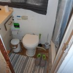 Pail for soiled toilet paper on houseboat