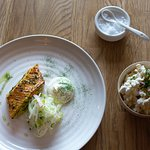 Blow-torched dill cured salmon, fennel & apple salad and creme fraiche